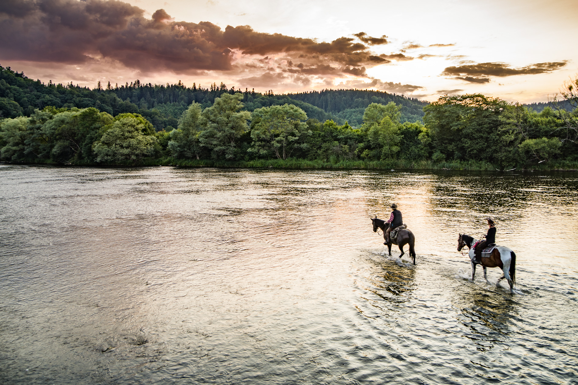 Przeprawa konno przez rzekę San w Bieszczadach