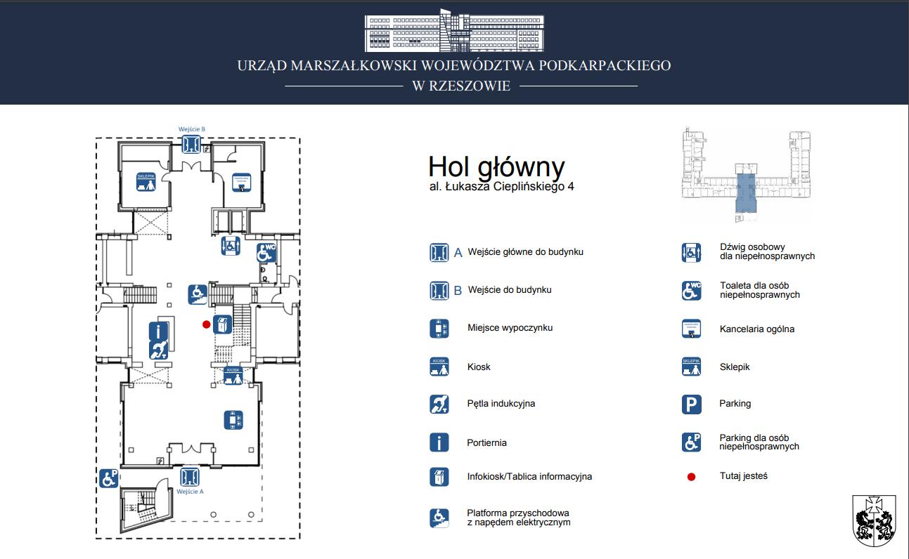Widok holu w głównym budynku Urzędu Marszałkowskiego przy al. Cieplińskiego 4 w Rzeszowie - infografika